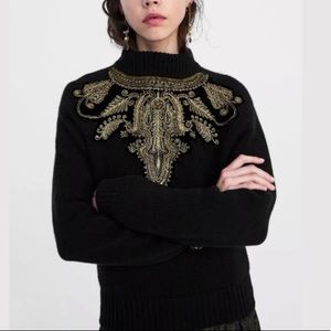Zara Embellished Ribbed Long Sleeves Sweater
